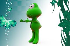 3d frog welcoming illustration Stock Photography