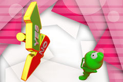 3d frog yes no arrows illustration Royalty Free Stock Photos