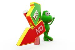 3d frog yes no road sign concept Royalty Free Stock Photography