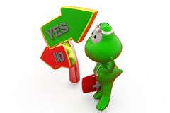 3d frog yes no sign concept Royalty Free Stock Photography