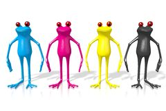 3D frogs in CMYK colors Royalty Free Stock Photo