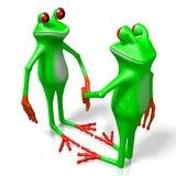 3D frogs - handshake. 3D cartoon frogs - handshake, agreement concept Stock Photo
