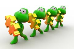3d frogs holding puzzle piece concept Royalty Free Stock Photo