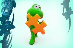 3d frogs holding puzzle piece  illustration Stock Photo