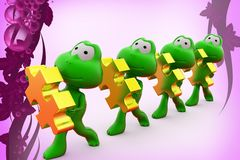 3d frogs holding puzzle piece  illustration Royalty Free Stock Images