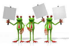 3D frogs with signposts Stock Photo