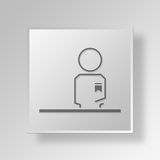 3D Front Desk Button Icon Concept Fotografie Stock