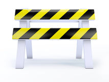 3d Front view road block. 3d render of a roadblock on white background Royalty Free Stock Photo