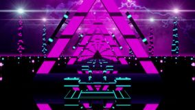 3D Fuchsia Abstract Triangles Tunnel VJ Loop Background stock video