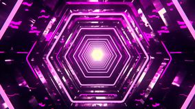 3D Fuchsia Sci-Fi Hexagon Tunnel VJ Loop Background stock footage