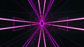 3D Fuchsia Tron Style Tunnel Loopable Motion Background stock footage
