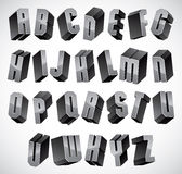 3d fuente, letras dimensionales geométricas fijadas Fotografía de archivo