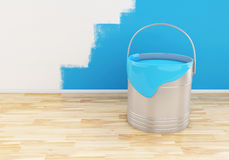 3d Full bucket of paint color blue. Royalty Free Stock Photo