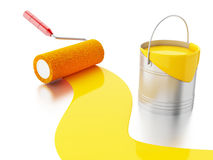 3d Full paint bucket and paint roller. Stock Image