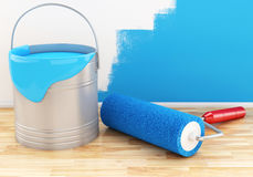 3d Full paint bucket with roller. Stock Images