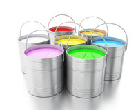 3d Full paint buckets against white background. 3d renderer image. Full paint buckets.  white background Royalty Free Stock Photos