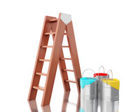 3d Full paint buckets with brown ladder. 3d renderer image. Full paint buckets with brown ladder.  white background Royalty Free Stock Photography