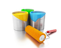 3d Full paint buckets and paint roller. Royalty Free Stock Photos