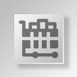 3D  Full Shopping Cart Button Icon Concept. 3D Symbol Gray Square Full Shopping Cart Button Icon Concept Royalty Free Stock Photography