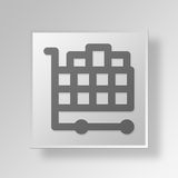 3D  Full Shopping Cart Button Icon Concept. 3D Symbol Gray Square Full Shopping Cart Button Icon Concept Royalty Free Stock Photo