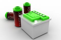 3d  fully charge energy batteries Royalty Free Stock Image