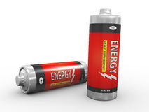 3d fully charged batteries. 3d illustration of two energy batteries on white background Royalty Free Stock Photo