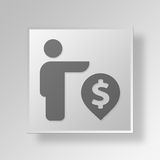 3D funds Button Icon Concept Stock Image
