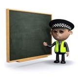 3d funkcjonariusz policji przy chalkboard Royalty Ilustracja