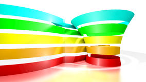 3D funnel with five colored tape Stock Photos