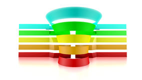3D funnel with five colored tape Royalty Free Stock Photography