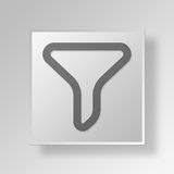 3D Funnel icon Business Concept. 3D Symbol Gray Square Funnel icon Business Concept Stock Image