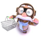 3d Funny cartoon airline pilot character holding a shopping basket. 3d render of a funny cartoon airline pilot character holding a shopping basket Stock Image