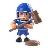 3d Funny cartoon American football player character holding an auction Royalty Free Stock Photo