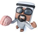 3d Funny cartoon arab sheik character holding a human brain. 3d render of a funny cartoon arab sheik character holding a human brain Royalty Free Stock Photos