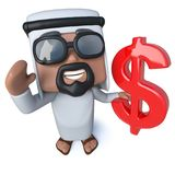 3d Funny cartoon arab sheik character holding a US Dollar currency symbol. 3d render of a funny cartoon arab sheik character holding a US Dollar currency symbol Stock Photos