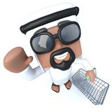 3d Funny cartoon Arab sheik character shopping with a basket. 3d render of a funny cartoon Arab sheik character shopping with a basket Stock Images