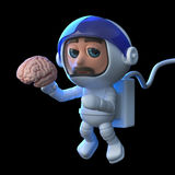 3d Funny cartoon astronaut floats in space holding a human brain. 3d render of a funny cartoon astronaut character floating in space holding a human brain Royalty Free Stock Photos