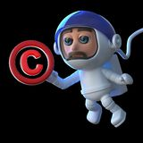 3d Funny cartoon astronaut spaceman floats in space with a copyright symbol. 3d render of a funny cartoon astronaut spaceman floating in space with a copyright Royalty Free Stock Photography