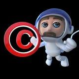 3d Funny cartoon astronaut spaceman holding a copyright symbol. 3d render of a funny cartoon astronaut spaceman holding a copyright symbol Stock Photos
