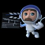 3d Funny cartoon astronaut spaceman making a movie in space. 3d render of a funny cartoon astronaut spaceman making a movie in space Royalty Free Stock Photography