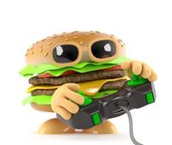 3d Funny cartoon beef burger playing a video game Royalty Free Stock Photography