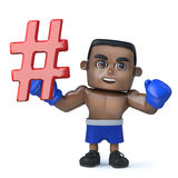 3d Funny cartoon black boxer character holding a hash tag symbol Stock Photo
