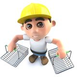 3d Funny cartoon builder construction worker character holding shopping baskets. 3d render of a funny cartoon builder construction worker character holding Royalty Free Stock Photo
