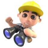 3d Funny cartoon builder construction worker character with a pair of binoculars. 3d render of a funny cartoon builder construction worker character with a pair Stock Photo