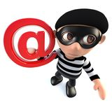 3d Funny cartoon burglar thief character holding an email address symbol. 3d render of a funny cartoon burglar thief character holding an email address symbol royalty free illustration