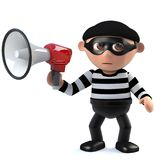 3d Funny cartoon burglar thief character holding a loud hailer megaphone. 3d render of a funny cartoon burglar thief character holding a loud hailer megaphone Stock Photo