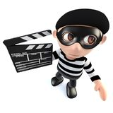 3d Funny cartoon burglar thief character holding a movie makers clapperboard. 3d render of a funny cartoon burglar thief character holding a movie makers Stock Image