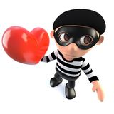 3d Funny cartoon burglar thief character holding a red romantic heart. 3d render of a funny cartoon burglar thief character holding a red romantic heart Royalty Free Stock Images