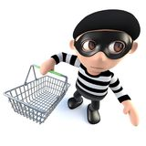 3d Funny cartoon burglar thief character holding a shopping basket. 3d render of a funny cartoon burglar thief character holding a shopping basket Stock Photos