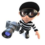 3d Funny cartoon burglar thief character stealing a camera. 3d render of a funny cartoon burglar thief character stealing a camera Stock Photography